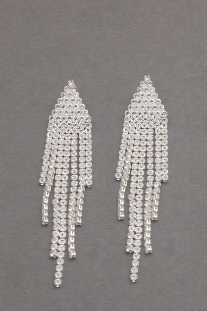 RHINESTONE TASSEL DANGLE EARRING  - orangeshine.com
