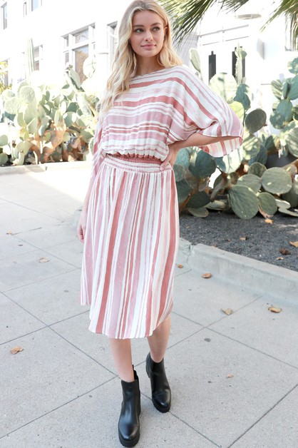 Stripes Smocked Midi Dress - orangeshine.com