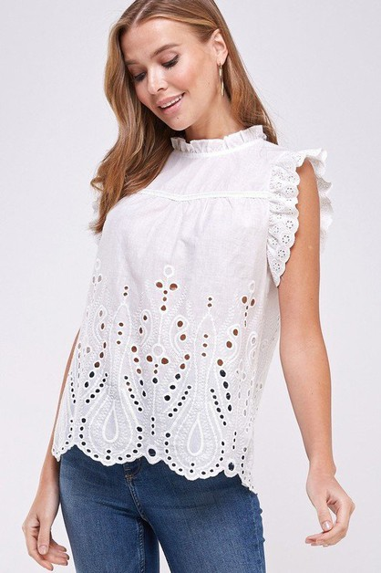 Crochet and Lace Ruffled Top - orangeshine.com