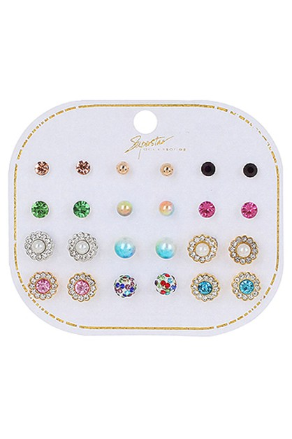 12-pair Multi Earring Set - orangeshine.com
