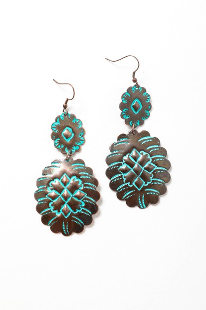Turquoise Flower Drop Earrings - orangeshine.com