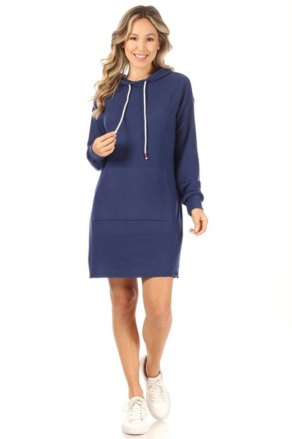 Solid dress with a hood - orangeshine.com