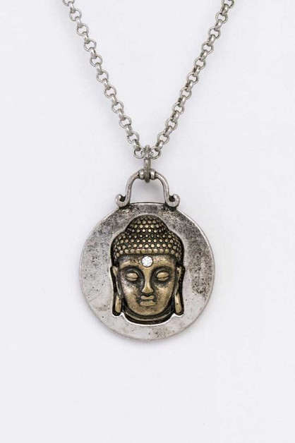 Buddha Head Pendant Message Necklace - orangeshine.com