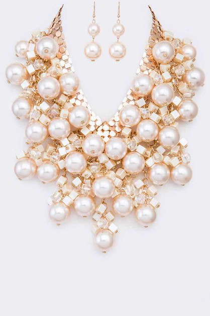 Mix Pearl Drop Statement Necklace Se - orangeshine.com