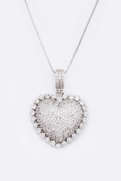 CZ Heart Pendant Necklace - orangeshine.com