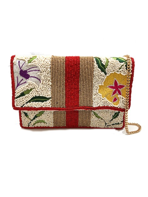 Floral Embroidery Beaded Clutch Bag  - orangeshine.com
