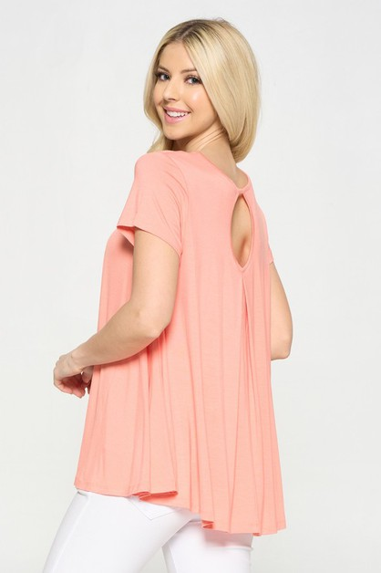 Short Sleeve Pleat Detail Top - orangeshine.com