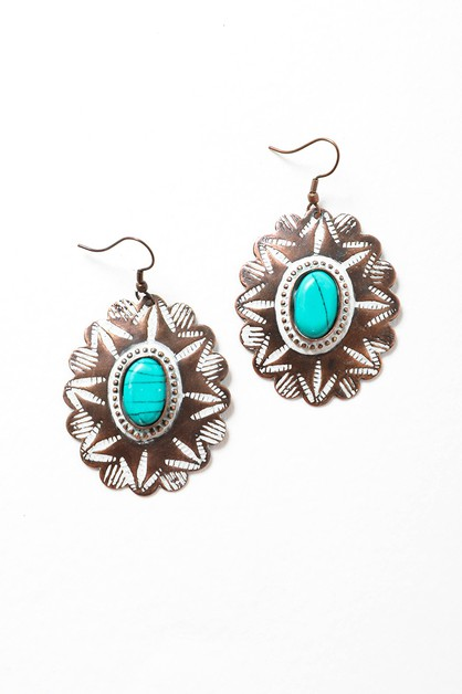 Rustic Flower Stamp Earrings - orangeshine.com