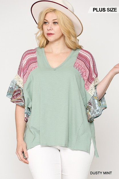 Color Patchwork Ruffle Sleeve Top  - orangeshine.com