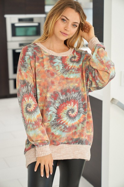 Long sleeve tie dye knit pullover  - orangeshine.com