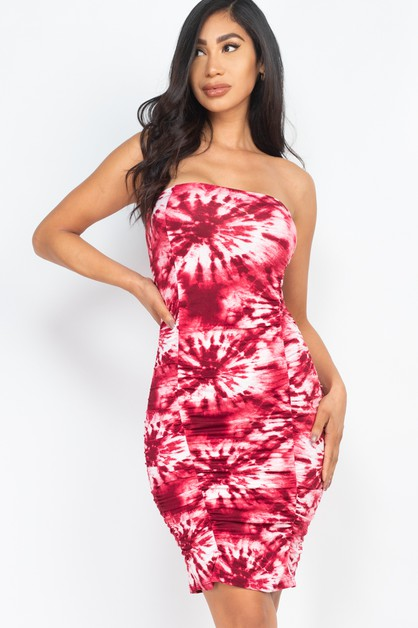 Tie-Dye Ruched Shirring Tube Dress - orangeshine.com