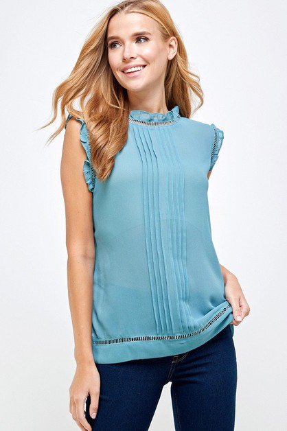 Ruffled Mock Neck Sleeveless Top - orangeshine.com