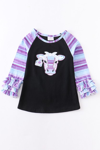 Purple stripe cow applique raglan sh - orangeshine.com