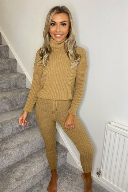 Rib Knit Roll Neck Jumper Set - orangeshine.com
