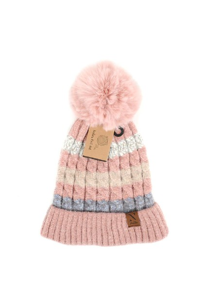 Womens Pom Pom Knit Winter Hat - orangeshine.com