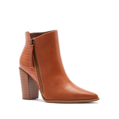 Pointed Toe Chunky Heel Booties - orangeshine.com