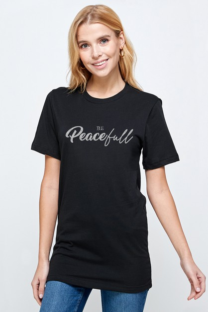 Roll sleeve with BE PEACEFULL T-Shir - orangeshine.com