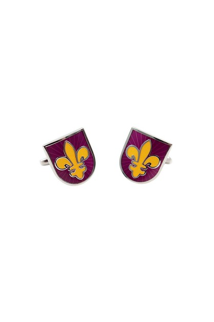 Purple Fleur de Lis Novelty Cufflink - orangeshine.com