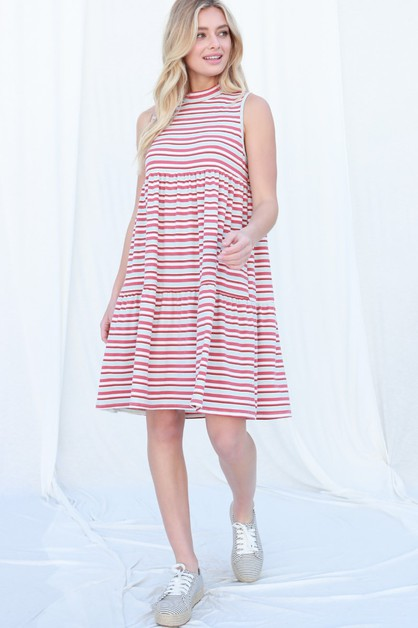 Stripe Rib Mock Neck Mini Dress - orangeshine.com