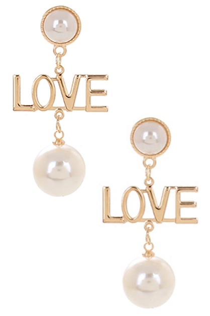 Pearl Accent LOVE Dangle Earring - orangeshine.com