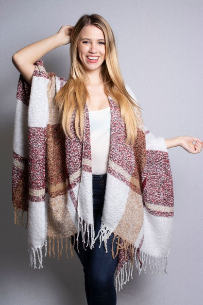 Drape Plaid Poncho - orangeshine.com