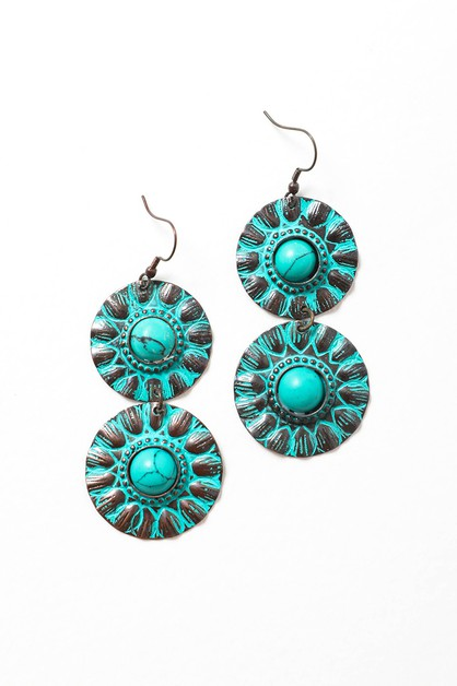 Turquoise Painted Bronze Earrings - orangeshine.com