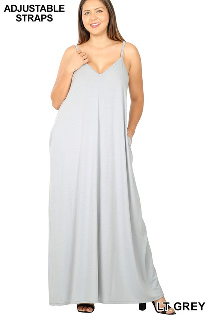 PLUS V-NECK CAMI MAXI DRESS POCKETS - orangeshine.com