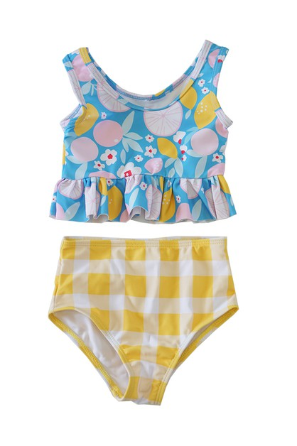 Blue floral yellow check  swim bathi - orangeshine.com