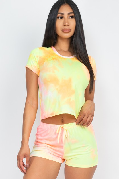 Tie-Dye Neon Top and Shorts Set - orangeshine.com