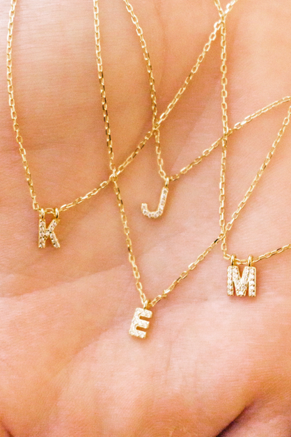 NEW Mini 14k Pave Initial Pendants - orangeshine.com
