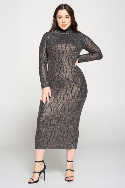 Long Sleeve Knit Metallic Midi  - orangeshine.com