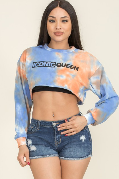 Tie Dye  Raw-cut  Cropped Sweatshirt - orangeshine.com