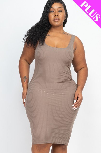 Plus Size Back Slit Bodycon Dress - orangeshine.com