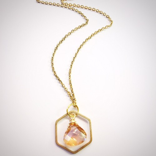 Honeydrop hexagon necklace - orangeshine.com