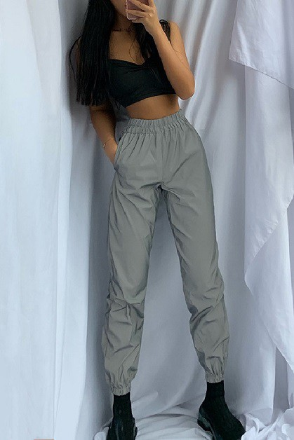 Grey Reflective Casual Pants - orangeshine.com