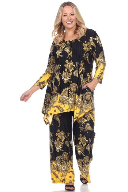 Plus Size Paisley Printed Set - orangeshine.com