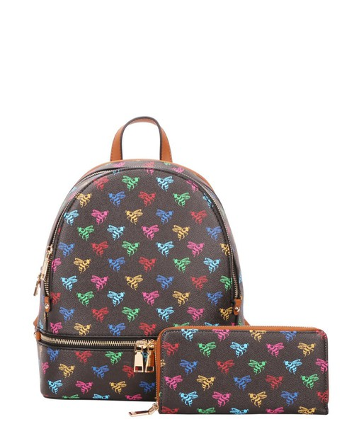 2 in 1 Bee Monogram Print Backpack W - orangeshine.com