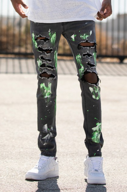 RIPPED JEANS W PAINT - orangeshine.com