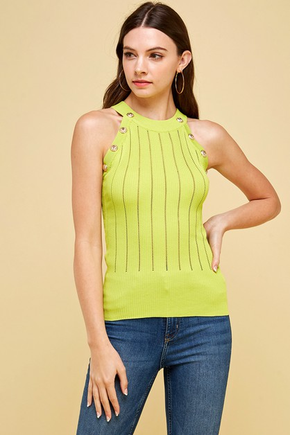 Button detail halter neck knit top - orangeshine.com