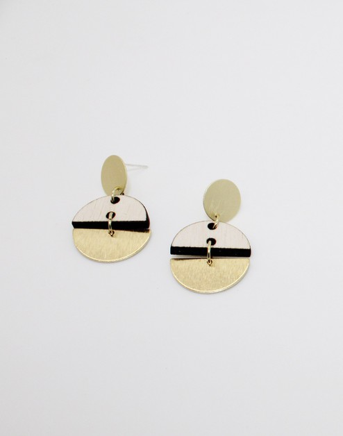 Brass and Wood Half Circle Earrings - orangeshine.com