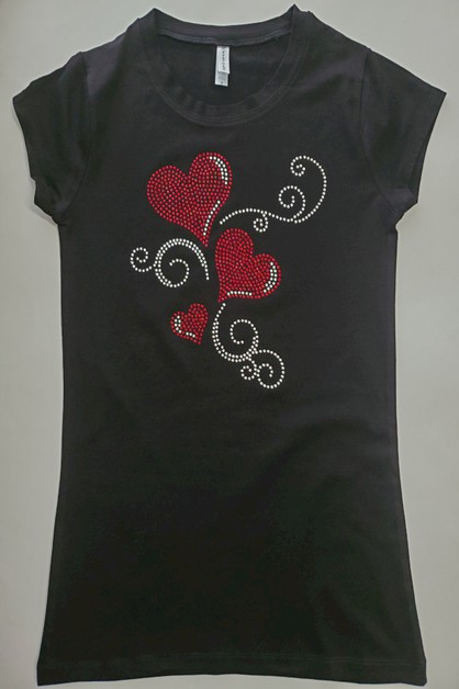 Red Hearts Rhinestone Shirt - orangeshine.com