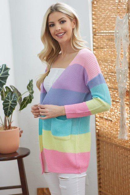 Colorful Knit Cardigan with Pockets - orangeshine.com