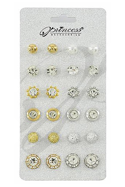 12-Pair Multi Stud Earring Set - orangeshine.com
