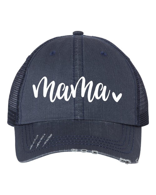 Mama with Heart Embroidered Hat - orangeshine.com
