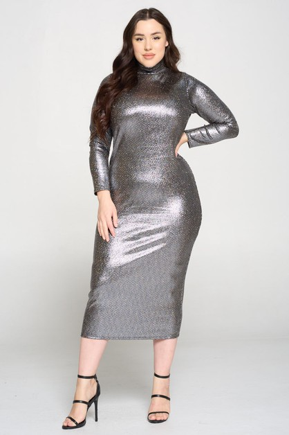 New Long Sleeve Matallic Dress - orangeshine.com