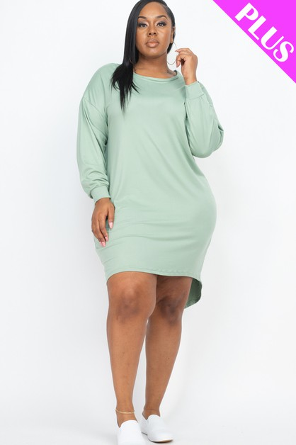 Plus Size Cozy High Low Dress - orangeshine.com