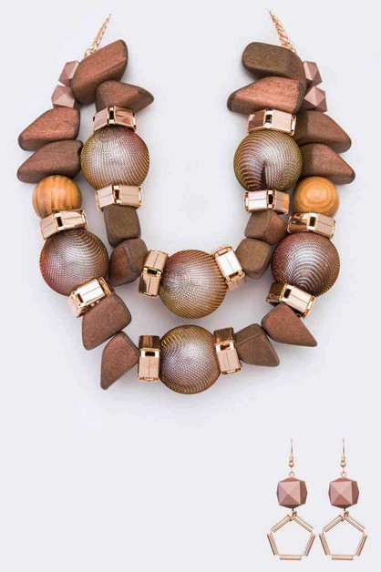Mix Wooden Beads Statement Necklace  - orangeshine.com