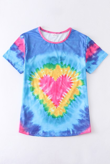 Blue tie dye heart shirt For Adult - orangeshine.com