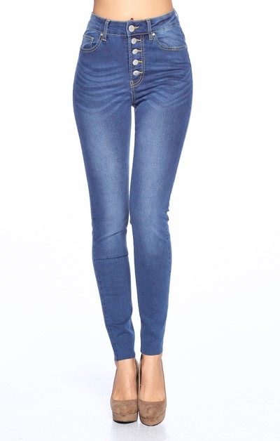 High Rise Five Buttons Skinny Jeans - orangeshine.com