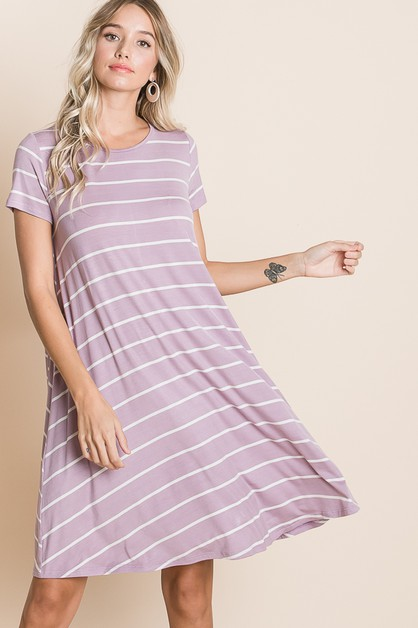 RELAXED FIT STRIPE DRESS - orangeshine.com